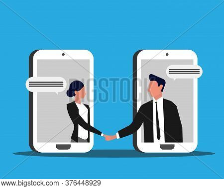 Businesswoman And Businessman Handshaking Through Cellphone Screens Over Blue Background. Phone Nego