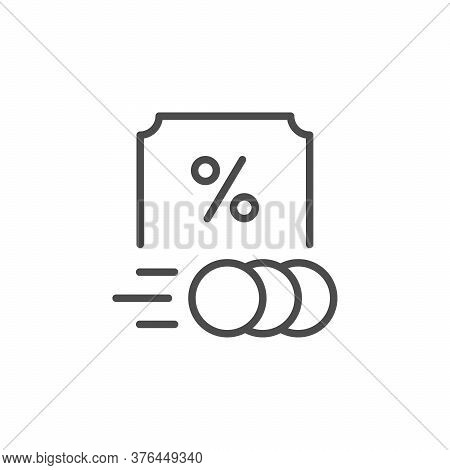 Royalty Rate Line Outline Icon Isolated On White. Money Coin And Percent Sign. Investment, Credit An