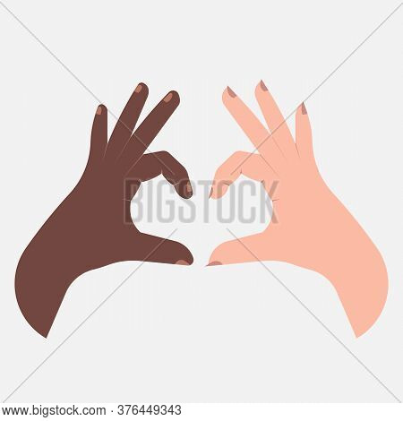 Multiracial Love. Black And White Hands Forming Heart Shape Over White Background. Vector Illustrati