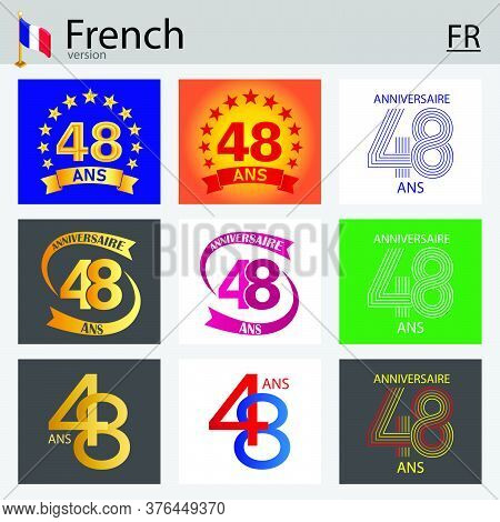 French Set Of Number Forty-eight Years (48 Years) Celebration Design. Anniversary Vector Number Temp