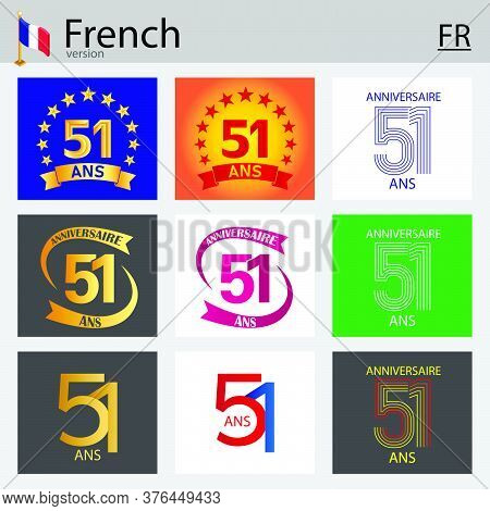 French Set Of Number Fifty-one Years (51 Years) Celebration Design. Anniversary Vector Number Templa