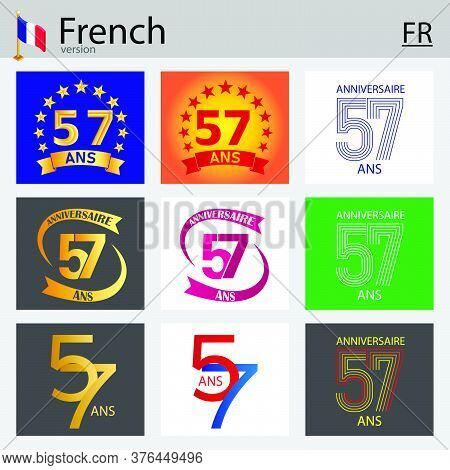 French Set Of Number Fifty-seven Years (57 Years) Celebration Design. Anniversary Vector Number Temp