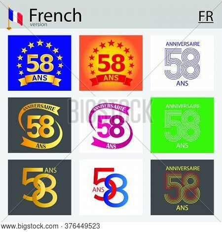 French Set Of Number Fifty-eight Years (58 Years) Celebration Design. Anniversary Vector Number Temp