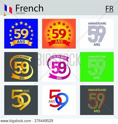French Set Of Number Fifty-nine Years (59 Years) Celebration Design. Anniversary Vector Number Templ