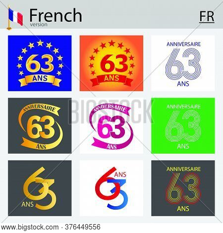 French Set Of Number Sixty-three Years (63 Years) Celebration Design. Anniversary Vector Number Temp