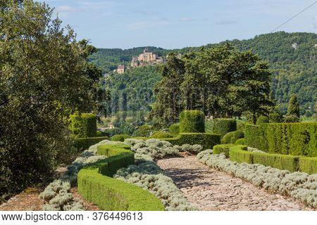 Marqueyssac, Dordogne, France - August 13, 2019: The Jardins de Marqueyssac in the Dordogne region of France