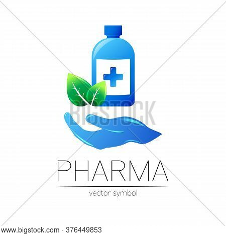 Pharmacy Vector Symbol With Blue Bottle And Cross, Green Leaf On Hand For Pharmacist, Pharma Store,