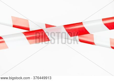 Red And White Restrictive Tape On A White Background. The Tape Is Crossed, Restriction
