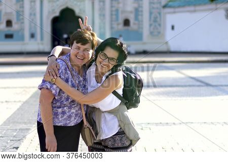 The Friendship Of Two Adult Women Lasts For A Very Long Time Happy Friends Hug And Hold Each Other,