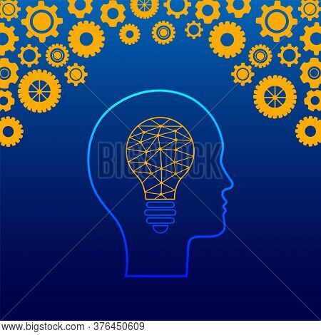 Creative Mind. Vector Illustration Of Lightbulb Filled With Polygonal Connections Inside Of Human He