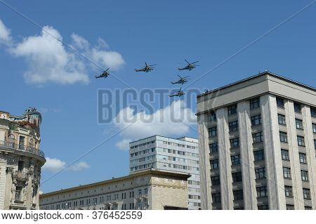 Moscow, Russia - June 24, 2020:mi-35m Attack Helicopters In The Sky Over Moscow During The Parade De
