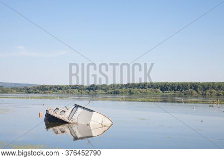 Sinking Boat, An Abaondoned Passenger Ship, Rusting In The Waters Of The Danube River In Serbia, Dur