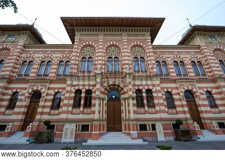 Brcko, Bosnia - May 6, 2017: Facade And Entrance Of The Main Hall Of The Vijecnica, The Former Libra