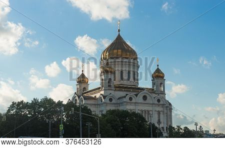 View Of  Cathedral Of Christ The Savior Across River Moscow, Moscow, Russia