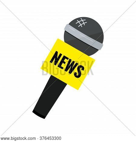 News Black Microphone Icon Isolated On White Background. Microphone With News Text On Yellow Intervi