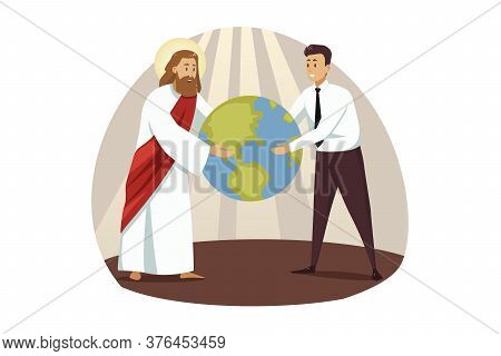 Religion, Christianity, Business, Support, Success Concept. Jesus Christ Son Of God And Young Busine