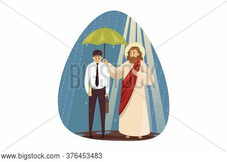 Mental Stress, Frustration, Depression, Religion, Christianity, Business Concept. Jesus Christ Son O