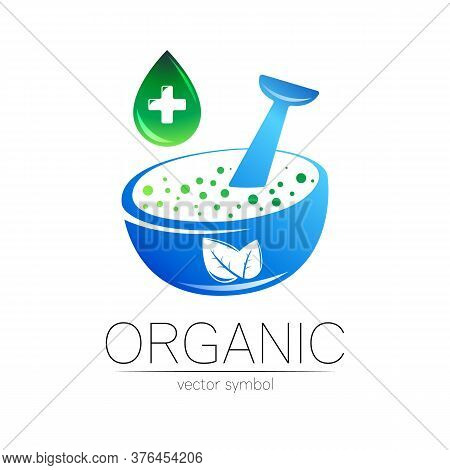 Organic Vector Symbol In Blue Color. Concept Logo With Cross And Green Drop For Business. Herbal Sig