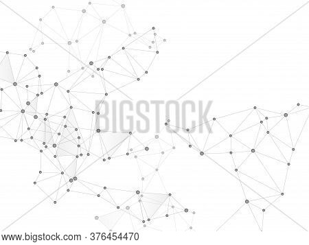Social Media Communication Digital Concept. Network Nodes Greyscale Plexus Background. Virtual Reali