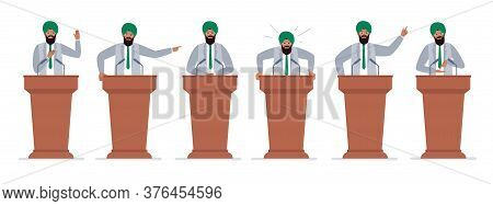 A Male Indian Politician Has A Speech On The Tribune. Different Emotions Of A Political Candidate. P