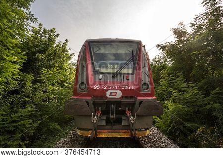 Alibunar, Serbia - July 7, 2019: Srbija Voz Dmu Diesel Unit From Serbian Railways, A Metrovagonmash