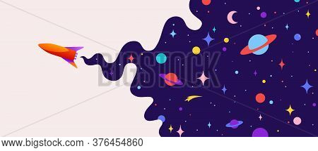 Universe. Motivation Banner With Universe Cloud, Dark Cosmos, Planet, Stars And Rocket Spaceship. Ba