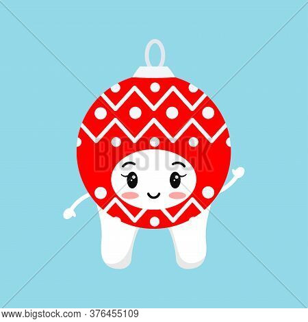 Cute Tooth In Red Christmas Ball Carnival Costume Isolated On White Background. Xmas White Tooth Cha