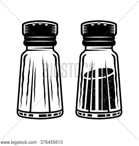 Salt Shaker Two Styles Full And Empty Vector Objects Or Design Elements Isolated On White, Monochrom