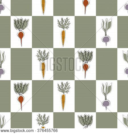 Vector Vegetables Carrots Beets Turnips On Green White Rectangles Seamless Repeat Pattern. Backgroun