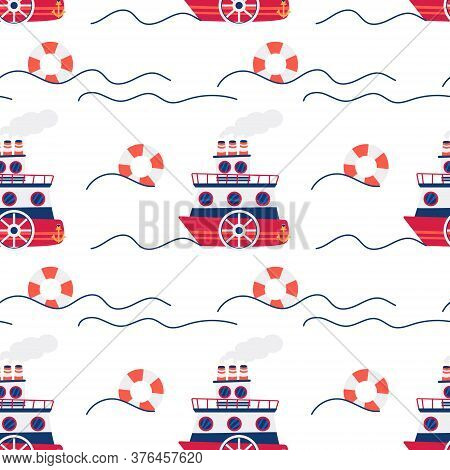 Seamless Pattern Of Flat Design Ships And Lifebuoy. Vector Illustration On The Marine Theme With Ves