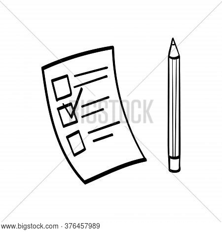 Piece Of Paper With Checkboxes And A Pencil. Test Form Symbol Isolated On White Background. Vector I
