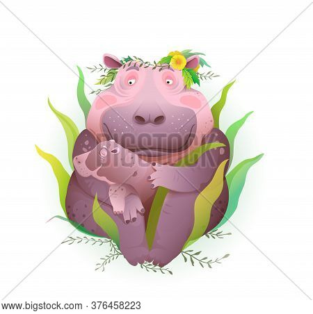 Hippopotamus Mother Taking Care Of Her Newborn Baby In Nature With Grass And Flowers, Holding Child