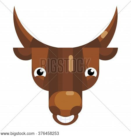 Laughing Bull Face Emoji, Happy Smiling Giggle Cow Icon Isolated Sign