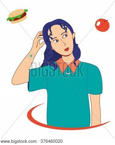 Girl Choosing Between Burger And Apple, Healthy And Unhealthy Food Concept Flat Vector Illustration.