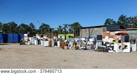 Dump With Used Home Electronics. Recycle Of Old Electronics And Appliances.