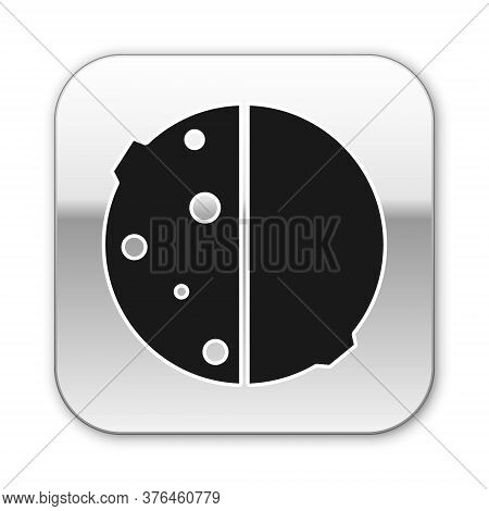 Black Eclipse Of The Sun Icon Isolated On White Background. Total Sonar Eclipse. Silver Square Butto