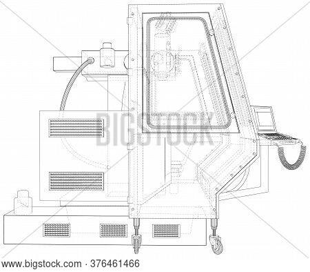 Milling Machine. Metalworking Cnc Equipmen Vector Illustration. Wire-frame Line Isolated. Vector Ren