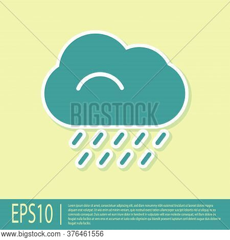 Green Cloud With Rain Icon Isolated On Yellow Background. Rain Cloud Precipitation With Rain Drops.