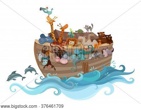 Noahs Ark Vector Illustration With Animals In The Water