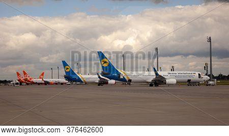 Ukraine, Kyiv - July 8, 2020: Passenger Aircraft Uia Airlenes. Boryspil International Airport. Many