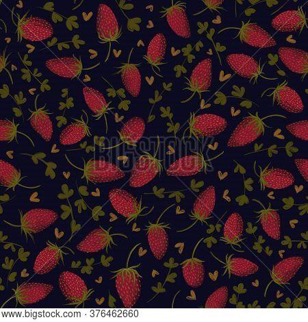Wild Strawberries Hand Drawn Seamless Pattern. Fabric, Wallpaper, Surface Pattern Design. High Quali