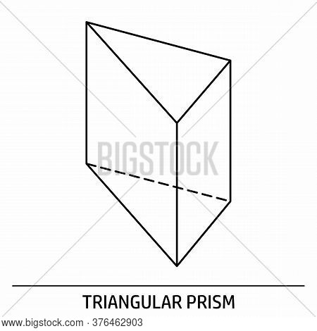 A Triangular Prism Outline Icon On White Background
