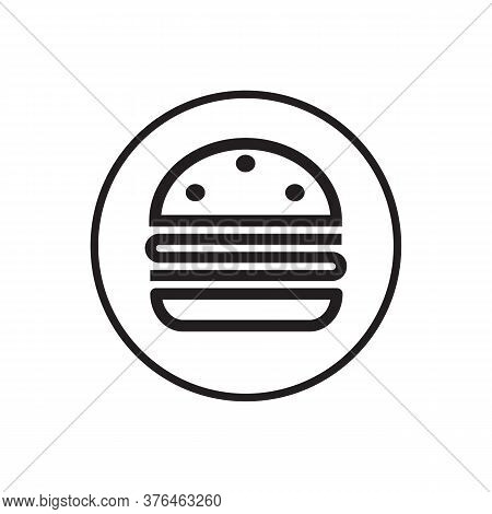 Burger Buns Circle Line Icon Symbol Vector Isolated On White Background