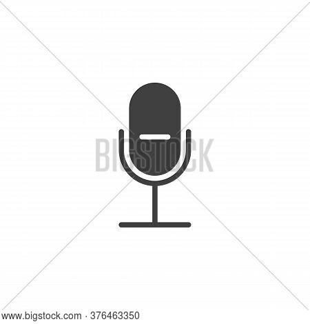 Record, Microphone Vector Icon. Filled Flat Sign For Mobile Concept And Web Design. Ui Mic Glyph Ico