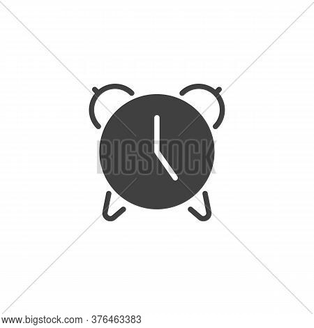 Alarm Clock Vector Icon. Filled Flat Sign For Mobile Concept And Web Design. Alarm Time Glyph Icon.