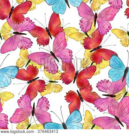 Watercolor Butterflies Hand Drawn Seamless Pattern. High Quality Illustration For Fabric, Wallpaper,