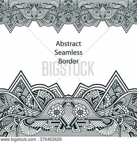 Template With Seamless Border From  Lace In Zen Tangle Zen Doodle Style Black White Black White For