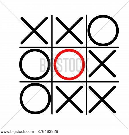 Tic Tac Toe Or Ought And Crosses Game. Hand Drawn Tic Tac Toe Game