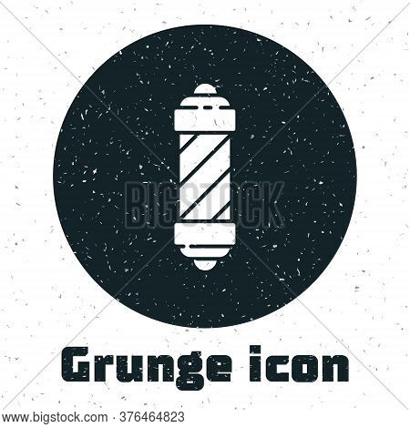 Grunge Classic Barber Shop Pole Icon Isolated On White Background. Barbershop Pole Symbol. Monochrom