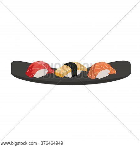 Sashimi On Black Plate. Traditional Japanise Food